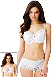 2 Pack Per Una Floral Lace Non-Padded DD-GG Bras with Supima Cotton