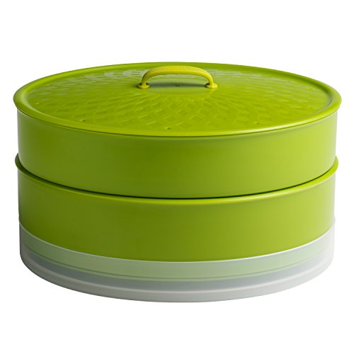 Chef'n SteamSum Stackable Stovetop Wok or Microwave Steamer (10-Inch, Green)