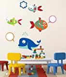 WALLMANTRA Chatting Fish Cartoon Wall Decal Wall Sticker : Size S(12x8) inches (Largest Fish) - Multi