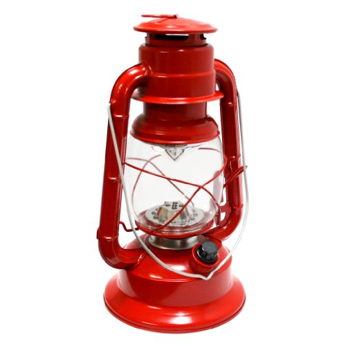 Gerson 11-Inch Red Metal 17 Led Hurricane Lantern With Dimmer Switch
