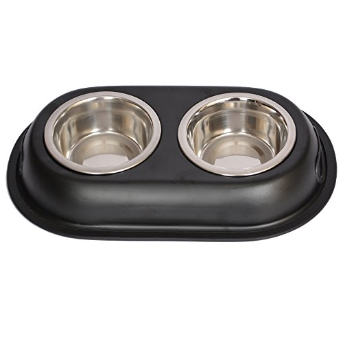Iconic Pet 1-Cup Color Splash Stainless Steel Double Diner for Dog/Cat, 8-Ounce, Black