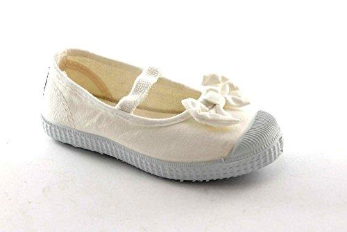CIENTA 73997 bianco scarpe bambina ballerine elastico tessuto fiocco 26