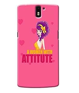 Fuson Attitude Girl Back Case Cover for ONEPLUS ONE - D3875