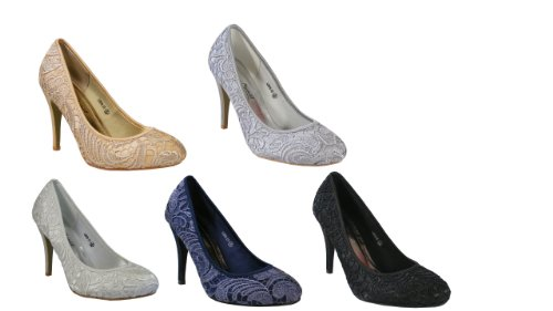 Ladies Navy Blue/Gold/White/Black/Silver Satin Lace Prom Heels Bridesmaid Shoes