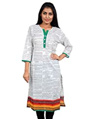 Anuradha Women's Cotton Self Print White Kurti - B00V4XM6JA