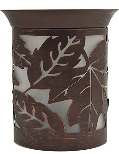 Rustic Leaves Pattern Metal Cutout Pattern Electric Wax and Oil Warmer (Tin Tart Burner Electric compare prices)