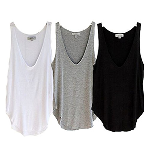 JUNKE Summer Woman Lady Sleeveless V-Neck Candy Vest Loose Tank Tops 3 Pack (3PACK)