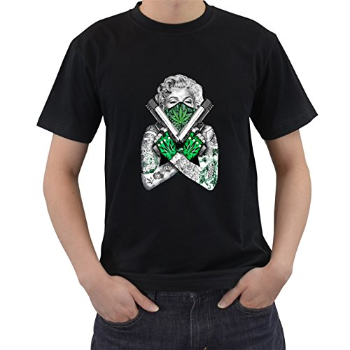 Marilyn Monroe Weed Bandana T-Shirt Short Sleeve By Saink Black Size S (Golden Weed Grinder compare prices)