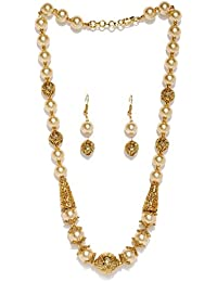 Zaveri Pearls Rajwada Syle Gold Plated Long Beaded Necklace Set For Women - ZPFK5415