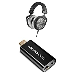 Beyerdynamic DT-990-Pro-250 Professional Acoustically Open Headphones for Monitoring and Studio Applications Bundle with M-Audio Micro DAC USB Digital to Analog Converter with 16bit/48kHz Resolution