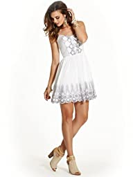 GUESS Women's Sleeveless Embroidered Eyelet Dress