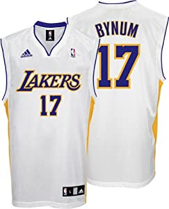 Andrew Bynum Youth Jersey: adidas White Replica #17 Los Angeles Lakers Jersey