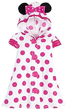 Disney Store Minnie Mouse Pink Polka Dot Terry Cloth Hooded Swimsuit Cover up Hoodie Pool Dress for Toddler Girls Size 3T