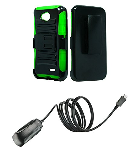 Lg Realm Ls620 (Boost Mobile) - Black & Neon Green Impact Protective Armor Kickstand Hybrid Combat Cover Case + Locking Swivel Belt Clip Holster + Atom Led Keychain Light + Micro Usb Wall Charger