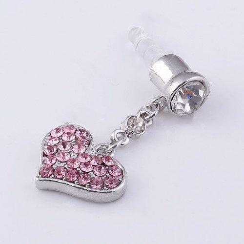 Niceeshop(Tm) Universal 3.5Mm Pink Crystal Heart Dangle Anti Dust Earphone Jack Plug Stopper For Iphone4/4S/5,Ipod,Ipad, Htc, Samsung S3 I9300/S4 I9500/N7100 Etc
