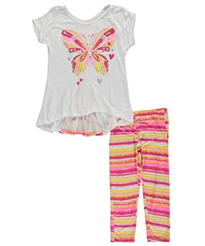 "One Step Up Big Girls' ""Painted Butterfly"" 2-Piece Outfit - white, 7 - 8"