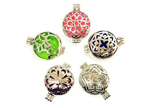 HaXiu 5pcs Mix Style 30mm Tone Alloy Locket Essential Oil Aromatherapy Diffuser Pendant Charms Necklace