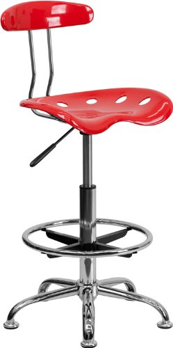 LF-215-CHERRYTOMATO-GG Vibrant Cherry Tomato and Chrome Drafting Stool with Tractor 300726