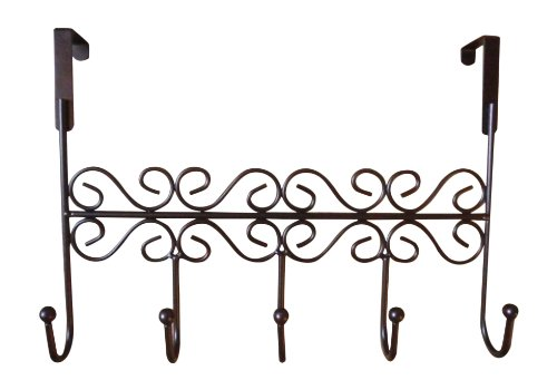 Gear-Keep Over The Door 5 Hook Rack - Decorative Hanger For Hanging Your Clothes - Coat - Hat Belt - And More - Stylish Organizer For Your Home Or Office - Best Lifetime Guarantee