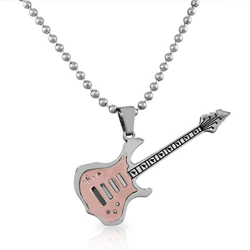 edforce in acciaio inox argento Grande Oro Rosa con Ciondolo a forma di chitarra elettrica