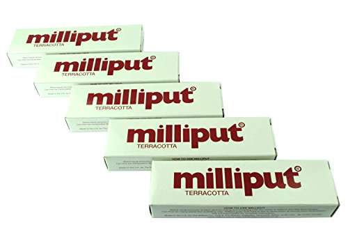 5-x-milliput-putty-terracotta-2-part-epoxy-putty-model-filler-ceramic-repair-x1016d-free-uk-postage