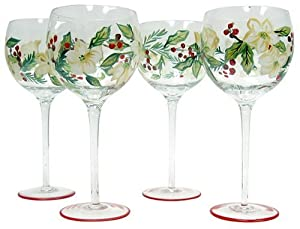 Toast the arrival of summer any day of the year with this fetching four-glass wine set from Block Basics. Versatile enough to comfortably accommodate any varietal, this full-bowled balloon wine can even house a glass of water. Hand-painted motifs to produce a happy color combination.