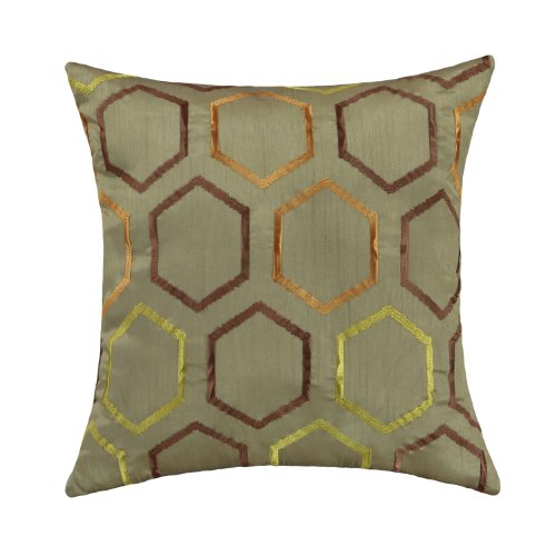 "Euphoria Contempo Decorative Throw Pillow Cushion Covers Pillowcase Shell Sage Green With Triple Colors Geometric Embroidery 18"" X 18"" front-704236"