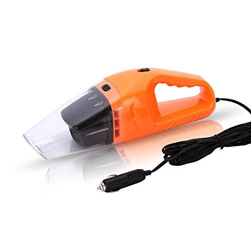 120W Auto Portable Aspirateur de Voiture Aspirateur à Main Rechargeable Poussière Sec Humide 12V avec Câble de 4.5m (Orange)
