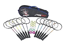 Sportime School Badminton Set - Includes 12 Racquets, 12 Shuttlecocks and Carrying Bag