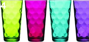 Attractive Set of Four (4) Unique Colored Highball Drinking Glasses 17-oz ~ Party... by GF Art