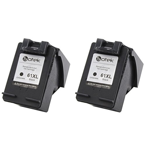 Sotek Ink Cartridge Replacement for HP 61XL CH563WN, (2 Black)for HP Deskjet, ENVY, OfficeJet Series, With Ink Level Indication (Replacement Cartridge For Hp 61xl compare prices)