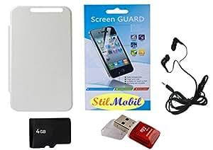 StilMobil White Flip Cover Kit For HTC Desire 626 - 4GB Memory, Card Reader, EarPhone