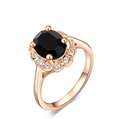 Vollter Pretty Wedding Finger Ring Jewelry Woman's Classic Rose Gold With Black Diamond Ring US Size 5