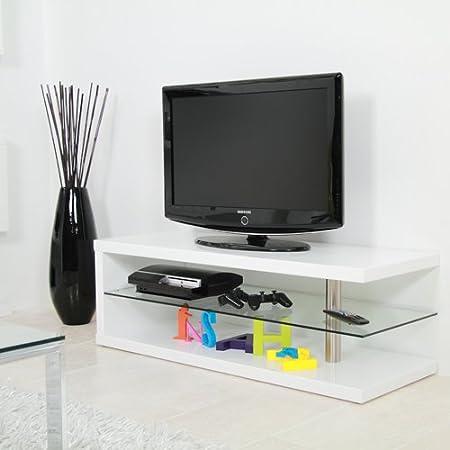lounge-zone Design TV Rack Tisch Fernsehtisch TV-Tisch LED OLED LCD KOBRA Couchtisch, Hochglanz Weiß, 120cm