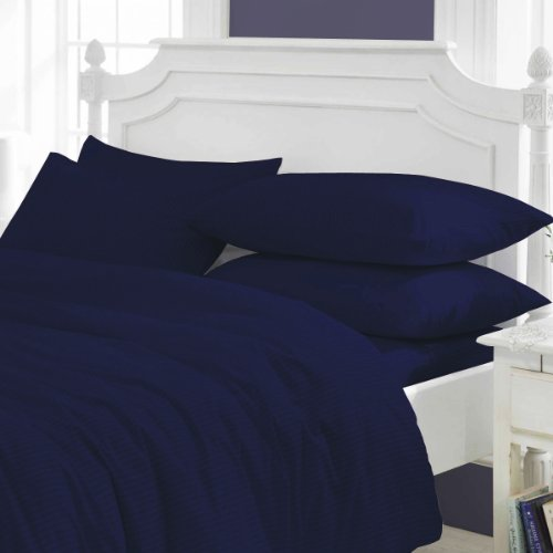 Congo Linen 450 Italian Finish Egyptian Cotton Luxurious Sheet Set 450 Tc Stripe ( Queen ,Navy Blue )