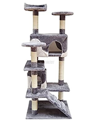 FoxHunter Deluxe Multi Level Cat Scratcher Cat Tree Activity Centre Scratching Post Climbing Sisal Toys CAT005 Grey and White Faux Fur 49cm x 57cm x 137cm Height