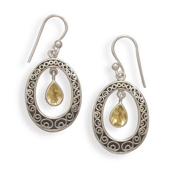 Oxidized Citrine French Wire Earrings