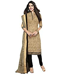 Beige Cotton Printed Dress Material