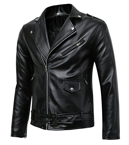Mens-Classic-Police-Style-Faux-Leather-Motorcycle-Jacket