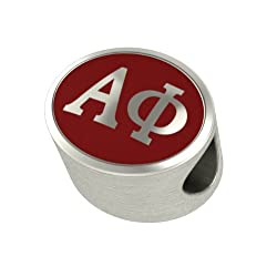 Alpha Phi Enameled Sorority Bead Charm Fits Most European Style Bracelets. High Quality Bead in Stock for Fast Shipping