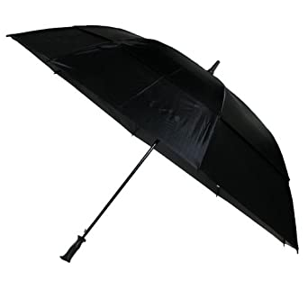 Totes Vented Canopy Auto-Open Golf Stick Umbrella, Black