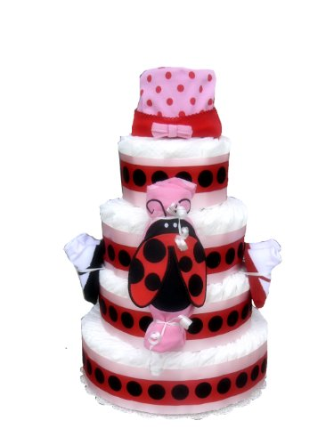 4 Tier - Red and Pink Lady Bug Baby Shower Diaper Cake - Gift Set