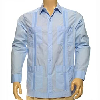 Men long sleeve guayabera shirt 100% pima cotton.