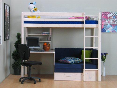 lada pisan thuka hochbett 90x200 bett weiss inkl matratze blau. Black Bedroom Furniture Sets. Home Design Ideas