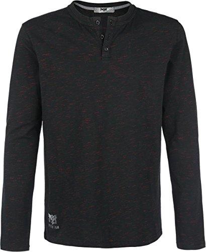 Black Premium by EMP Henley Manica lunga nero/rosso XXL