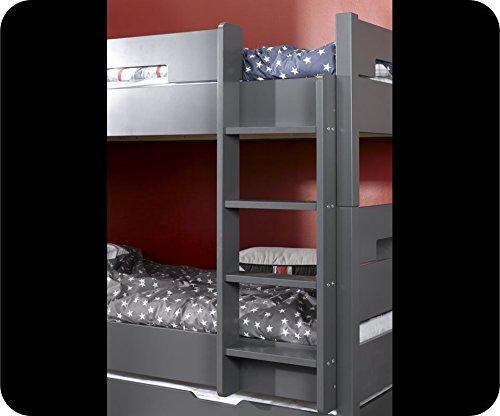 Machambredenfant - Lit superposé Bow gris et Tiroir de Lit
