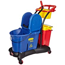 "Rubbermaid Commercial FG777700 WaveBrake Down Press Mopping Trolley, 35 qt Capacity, 28.9"" Length x 18.2"" Width x 38.6"" Height, Blue"