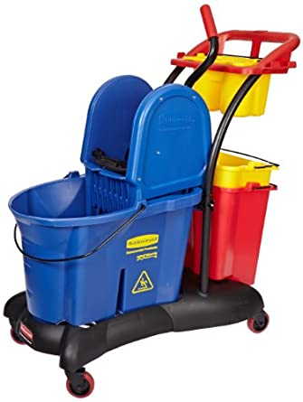 Rubbermaid Commercial FG777700BLUE WaveBrake Down Press Mopping Trolley, 35-Quart Capacity, Blue