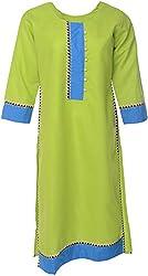 Urban Kings Women's Cotton Kurti (GREEN-001_M, Green, M)