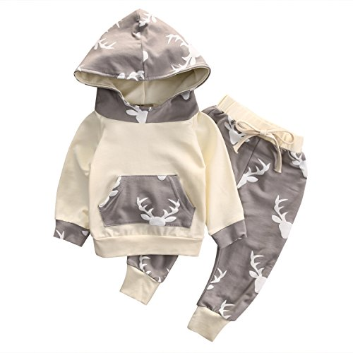 Baby Boy Girl 2pcs Christmas Suit Hooded Deer Print Long Sleeve Top+Long Pants (12-18months, Beige)
